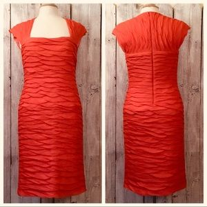 TADASHI Coral Cocktail Dress Ruched Stretch MOB 10